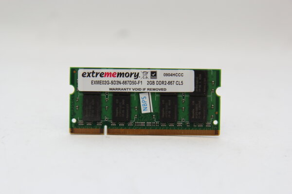 Extrememory 2GB DDR2 667MHz PC2-5300 Notebook Speicher RAM EXME02G-SD2N-667D50-F1