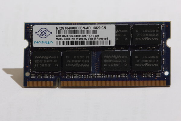 Nanya 2GB DDR2 800MHz PC2-6400S-666 Notebook Speicher RAM NT2GT64U8HD0BN-AD