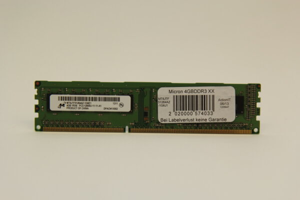 Micron 4GB DDR3 1600MHz PC3-12800U-11-11-A1 PC Speicher RAM MT8JTF51264AZ-1G6E1