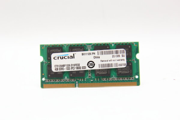 Crucial 4GB DDR3 1600MHz PC3L-10600 1,35V Notebook Speicher RAM CT51264BF1339.D16FED2